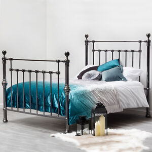 Stunning Gothic Ornate Polished Black Nickel Metal Bed Frame Double