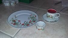 Avon Strawberry  tea cup, dessert plat, and napkin ring, set of 8