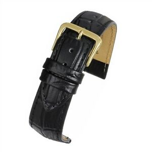 Padded-Croc-Grain-Black-or-Brown-Leather-Strap-16mm-18mm-20mm-22mm-24mm