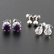 925 Sterling Silver Plated Set Of 3 Stud Earrings, Crown, Ball & Crystal.