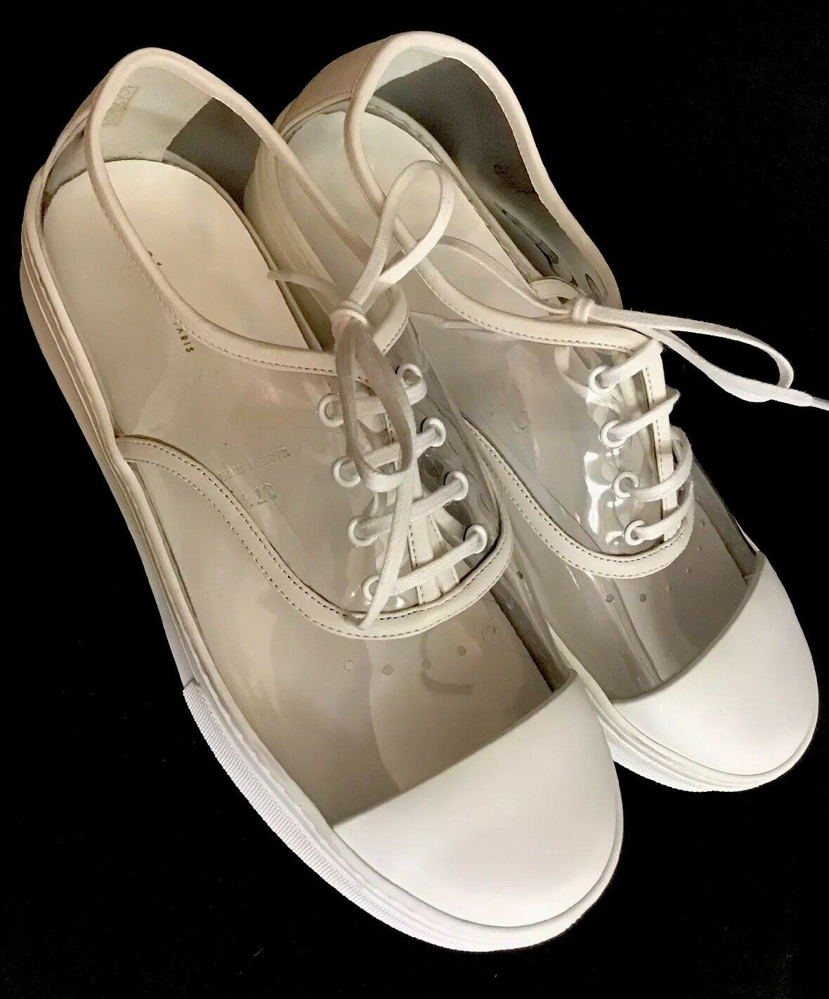 Celine Clear Weiß Pvc Turnschuhe Lther Cap Toe  Laces Thick Rubber Sole NEW 37 1 2