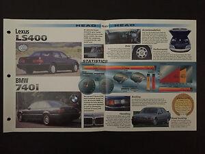 Lexus Ls400 Vs Bmw 740i Imp Hot Cars Spec Sheet Folder Brochure Ebay