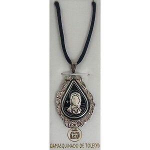 Damascene-Silver-Virgin-Mary-Design-Teardrop-Pendant-Necklace-by-Midas-of-Toledo