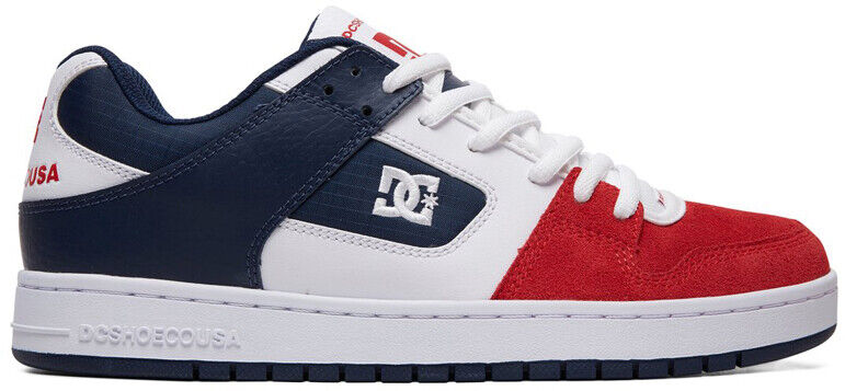 DC Manteca Trainers in White Navy Red