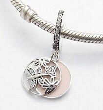 SPRING FLOWERS BUTTERFLY DANGLE CHARM Sterling Silver.925 f European Bracelet645