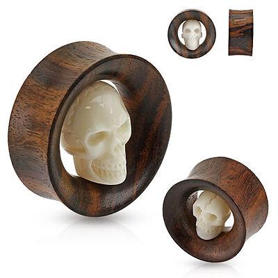 PAIR of Carved SKULL Bone ORGANIC WOOD EAR Gauges PLUGS SADDLES Tunnels Piercing