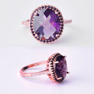 QUEEN 14k Rose Gold Antique Engagement//Wedding Ring with Alexandrite stones