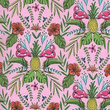 Michael Miller FLOCK TO THE OASIS Tropical Hawaiian Flamingo Fabric - Pink