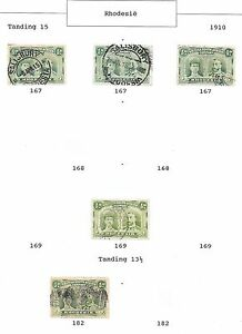 Rhodesia stamps 1910 Collection of 5 stamps 1/2d DOUBLE HEADS