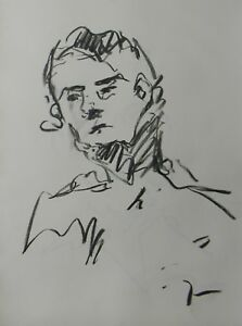 JOSE TRUJILLO - MODERN Contemporary ORIGINAL CHARCOAL DRAWING Abstract Portrait