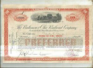 Orange 10 share pref  B/&O stock certificate 1930-40/'s  crisp cancelled