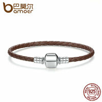 Bamoer European Genuine Brown Leather Braid Bracelet with Sterling Silver Clasp