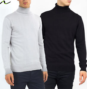 NEW-Mens-Roll-Neck-Polo-Light-Cotton-Knitwear-Jumper-Sweater-By-Brave-Soul-BLACK