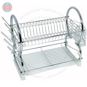 2-TIER-CHROME-PLATE-DISH-CUTLERY-CUP-DRAINER-RACK-DRIP-TRAY-HOLDER-WHITE-DCUK