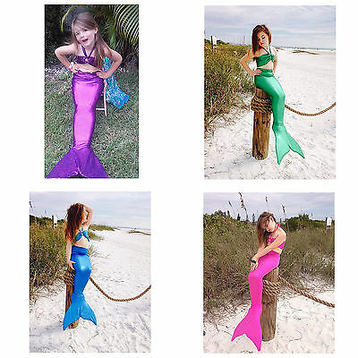 Girls Kid Mermaid Tail 3pcs Swimmable Bikini Set Swimwear Swimsuit Fancy Costume