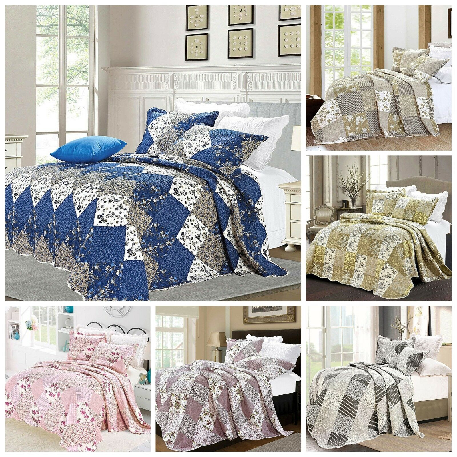 Patchwork Quilted Comfy Bedspread Bedding Set Embroiderot Throw Double King Größe