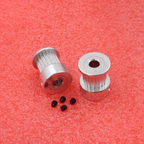 1PCS//5PCS GT2 20 tooth pulley aluminum Diameter 10MM Bore 5mm for 3D printer lot