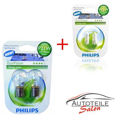 2x Philips W5W EcoVision 12961ECOB1 und 2x Philips EcoVision P21W 12498ECOB2 Ene