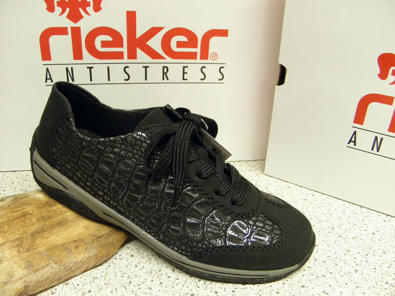 rieker ®  SALE,  schwarz, modisch,  superbequem, Top Preis,  L5222-00 (R266)