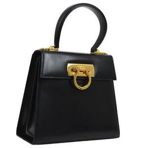 Auth Salvatore Ferragamo Gancini 2way Hand Bag Black Leather Vintage ... 0ff81e7dc994d