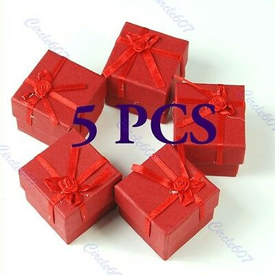 5 Pcs Square Jewellery Jewelry Gift Boxes Case for Ring Red