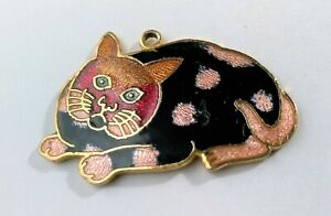 Sweet-Vintage-Cloisonne-Kitty-Cat-Necklace-Pendant-Black-Enamel-Kitten-Dress-Up
