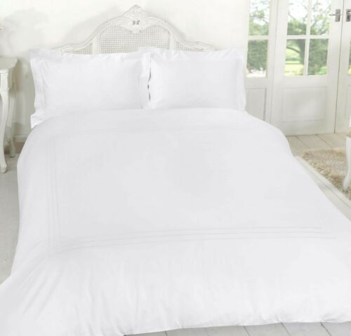 Laced Duvet Cover Egyptian Cotton 400 Thread Set Plain Double Single Super King
