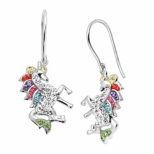 Crystaluxe Unicorn Drop Earrings with Swarovski Crystals in Sterling Silver
