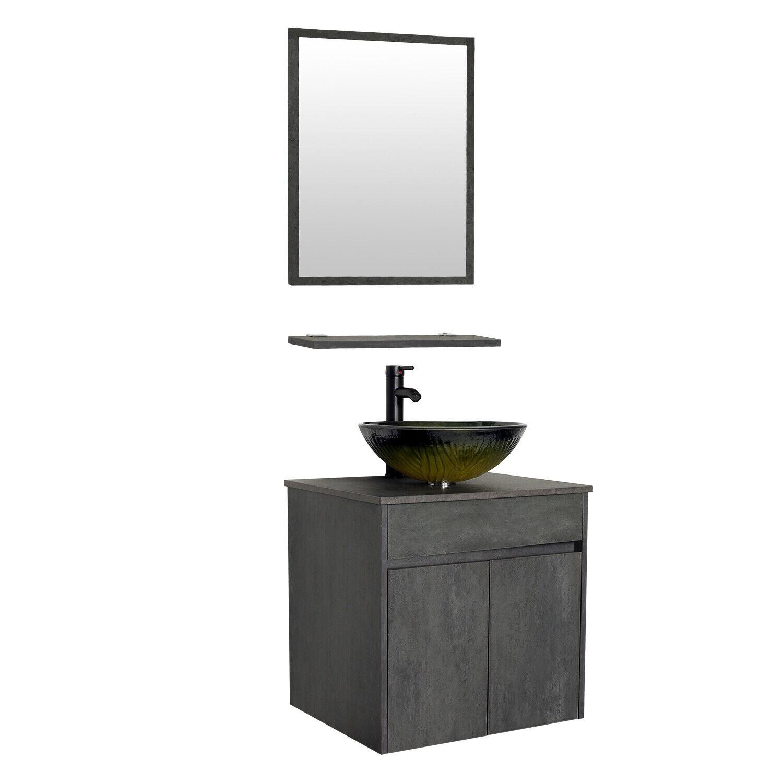 24 Bathroom Vanity Set Wall Mounted Cabinet Glass Vessel Sink Faucet Combo Grey For Sale Online Ebay