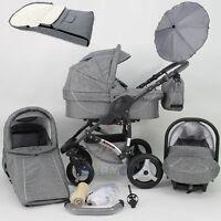 Baby Pram Stroller 3in1 Car Seat Pushchair Buggy Swivel Wheels Umbrella Footmuff