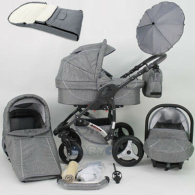 Baby Pram Stroller Pushchair with swivel wheels Car seat Buggy Umbrella Footmuff