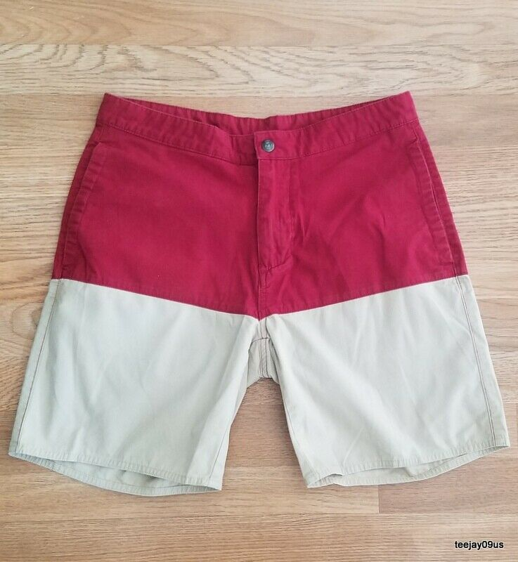 MINT Cond  Mens Patagonia Organic Cotton Red & Beige Flat Front Shorts Size 30