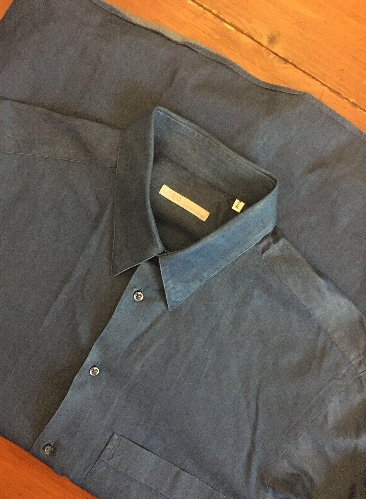 Lazo Made In  Dark Denim Dress Shirt sz 15.5 36 Button Down Collar