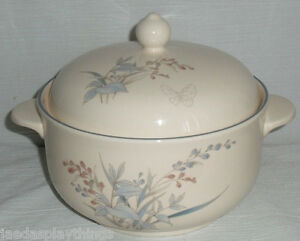 Noritake-KILKEE-Round-Covered-Casserole-Dish-Bowl-1995-Butterfly