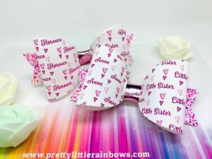 Any-Name-Sisters-Glitter-Hair-Bow-Set-Bundle-Big-Sister-Little-Sister-X-2