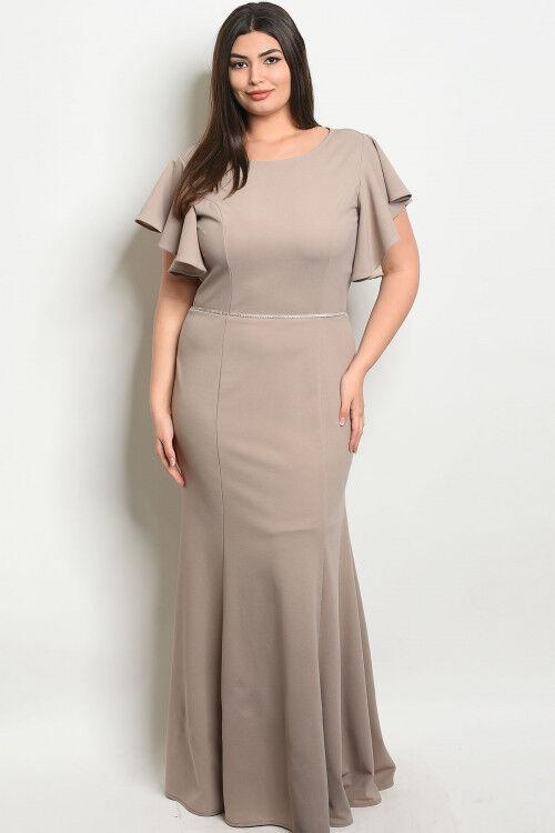 damen Plus Größe Tan Maxi Dress Evening Gown 3XL New Ruffled Accents Jeweled
