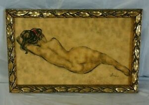 Vintage-Reclining-Nude-Painting-by-B-Simon-in-Gold-tone-Frame