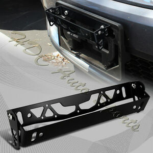 JDM Black Aluminum Bumper Adjustable Tilt License Plate Bracket Kit Universal 1