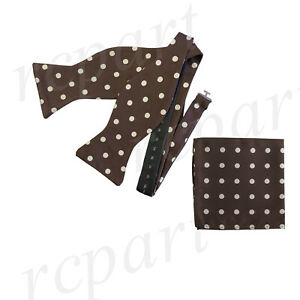 New-formal-poly-woven-Men-039-s-Self-tied-Bow-Tie-amp-Hankie-Set-Brown-polka-dots