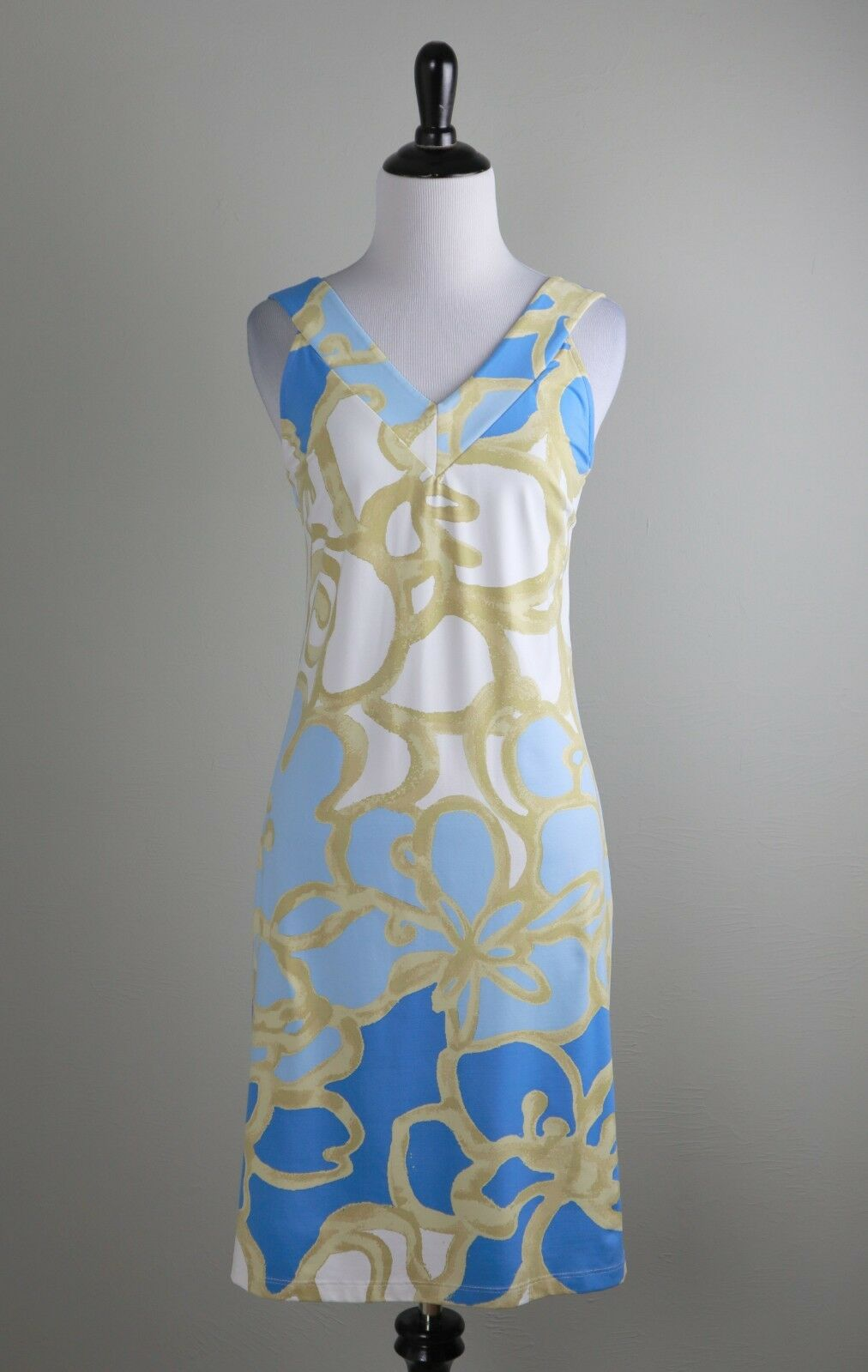 J. MCLAUGHLIN  228 Smooth Signature Stretch gold Floral Tank Dress Size Small