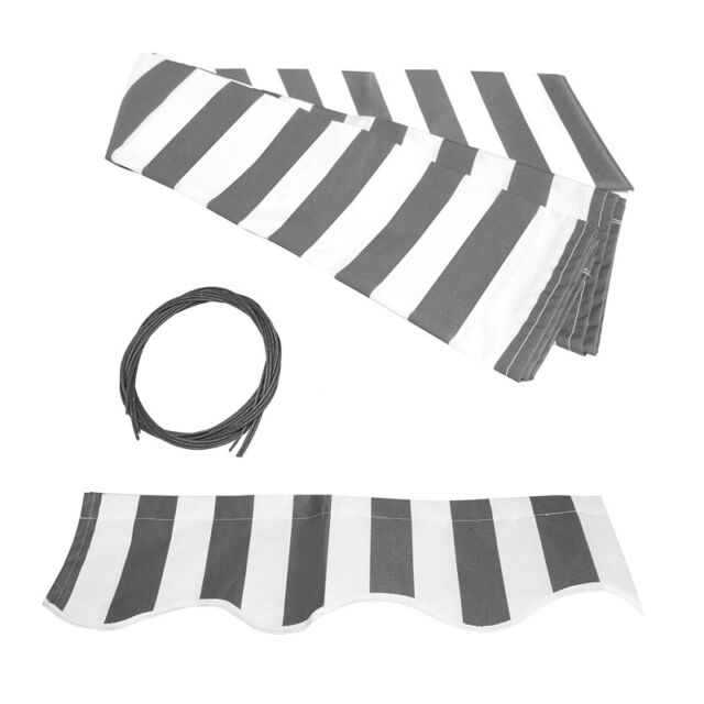 ALEKO Awning Fabric Replacement for Retractable Awning 10x8Ft Grey White Stripes