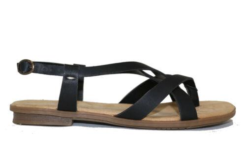 Rieker Sandale Sandales Bride D/'Orteil Plat noir NOUVEAU *