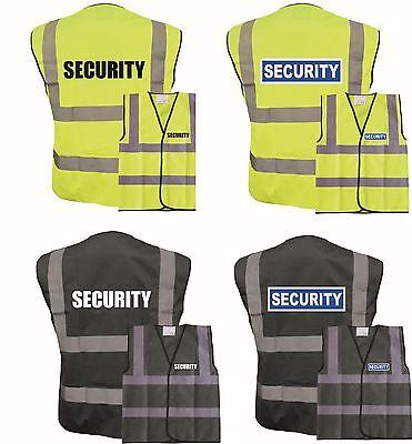 , Black SECURITY Premium High Visibility Vest Hi Viz Safety Wear Waistcoat Sizes S-3XL 44//46 L