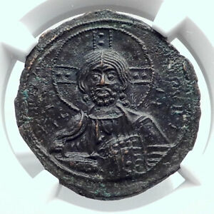JESUS-CHRIST-Class-A3-Anonymous-Ancient-1020AD-Byzantine-Follis-Coin-NGC-i80770
