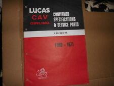 FORD Auto Lucas catalogo parti di ricambio 1971