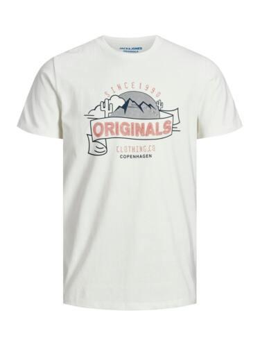Jack /& Jones Originals T-shirt homme à encolure ras-du-cou Logo imprimé sur la poitrine à manches courtes Tee