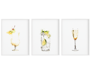 Set of 3 Cocktails Poster,Kitchen Print Wall Art,Alcohol Bar,Home Decor Sign 2