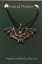 Grey Pewter Flying Bat Gothic black cord pendant