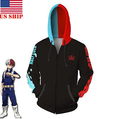 US!Anime My Hero Academia Todoroki Shoto Hoodie Sweatshirt  Cosplay Jacket Coat