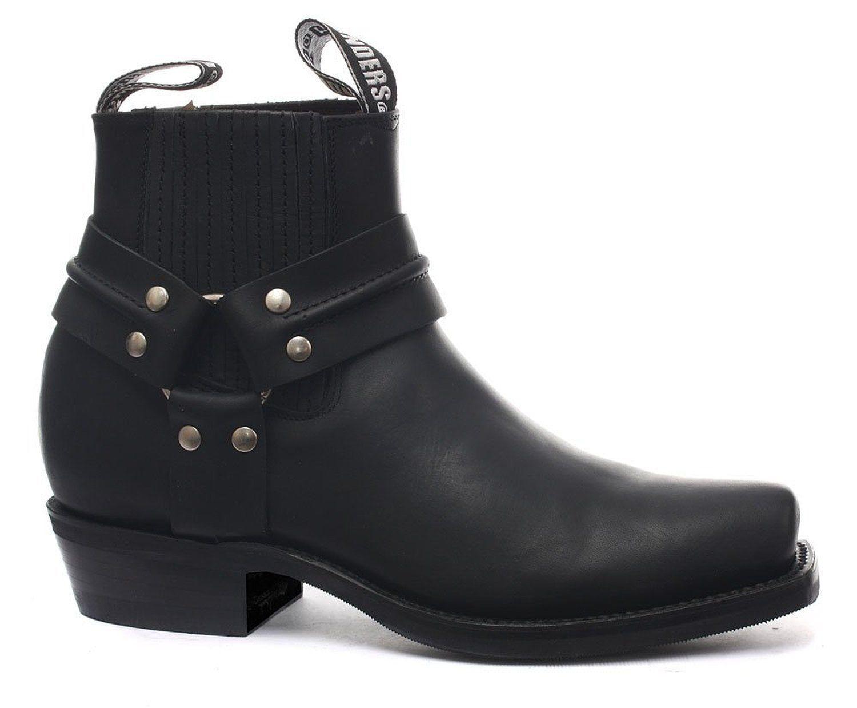 Grinders Renegade Lo Cowboy Negro Unisex Leather botas Cowboy Lo Western Bikers Boo 062f94